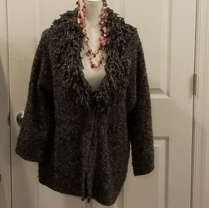 Ruby Rd. gray fringy cardigan sweater